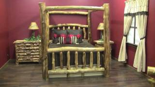 Aspen Log Canopy Bed With Drawers From Logfurnitureplace.com