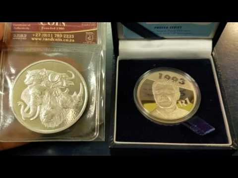 South African Randburg Coin 1 oz silver Big 5 & 1/2 oz South Africa Mint Protea Nelson Mandela Proof