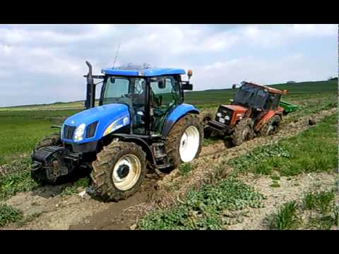 FIAT 70-66 DT STUCKED, NEW HOLLAND TS110A SAVED THE 70-66 DT TURKEY -  2010....!!!
