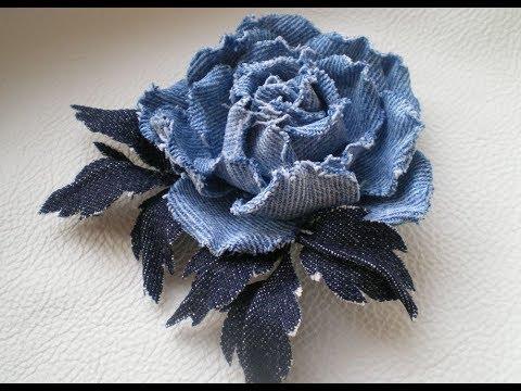 Цветы из старых джинсов своими руками