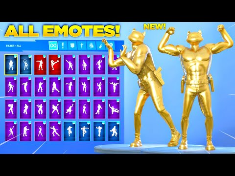 GOLD MEOWSCLES SKIN Showcase With All Fortnite Dances & Emotes! (Chapter 2 Season 2 Skin)