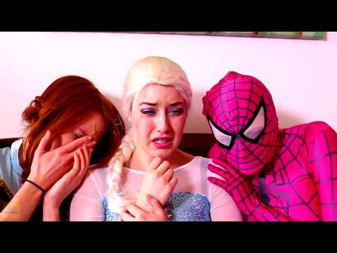 Spiderman, Frozen Elsa & Anna and Pink Spidergirl vs Ghost! Funny Superhero Movie in Real Life