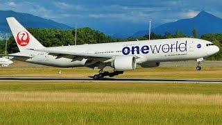 """[FullHD] Japan Airlines Boeing 777-200(ER) """"One World"""" landing & takeoff at Geneva/GVA/LSGG"""