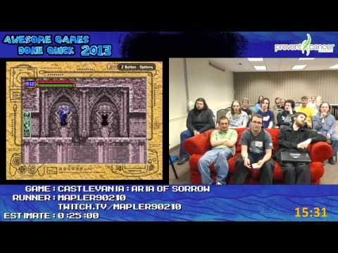 Castlevania: Aria of Sorrow - Speed Run in 0:18:16 by Mapler90210 live at AGDQ 2013 [GBA]