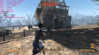 Fallout 4 Low End Notebook FPS test Nvidia Geforce 710m Fight scene