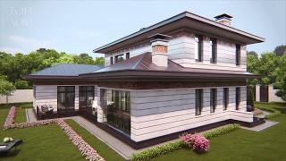 видео Проект хорошего двухэтажного дома с гаражом   D-025-ТП