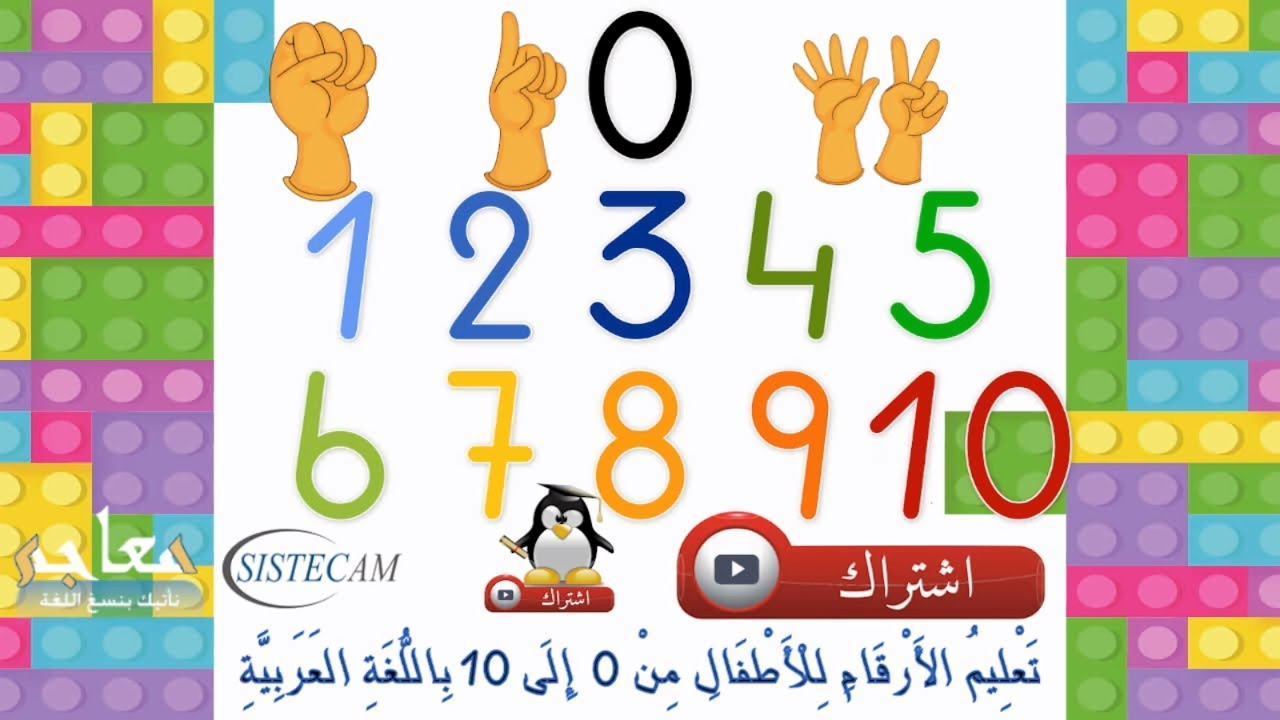 تعليم الأرقام العربية للأطفال م 0 إلى 10 ارقام تعلم الارقام تعلم