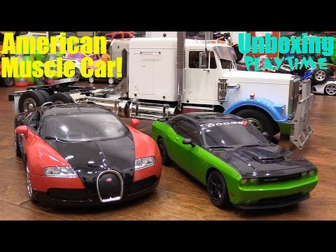 RC Cars Playtime! Dodge Challenger, Bugatti and Semi-Hauler Tractor Truck Remote Control Toys