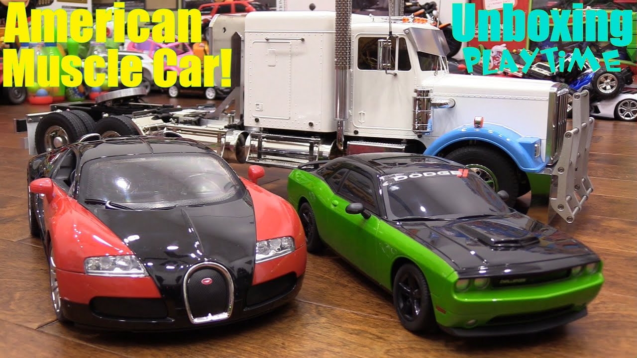 rc cars playtime  dodge challenger  bugatti and semi