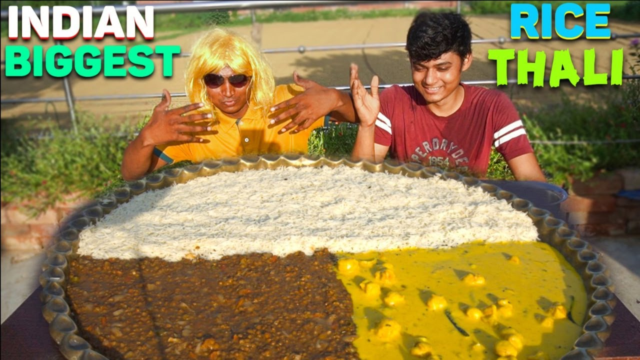 Indian Biggest 32 Inch Rice Thali Eating Challenge   Curry Rice Thali   Food Eating Competition