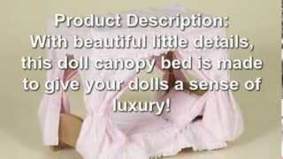 "Doll Canopy Bed - Made For 18"" Dolls By Amish Selections Llc"