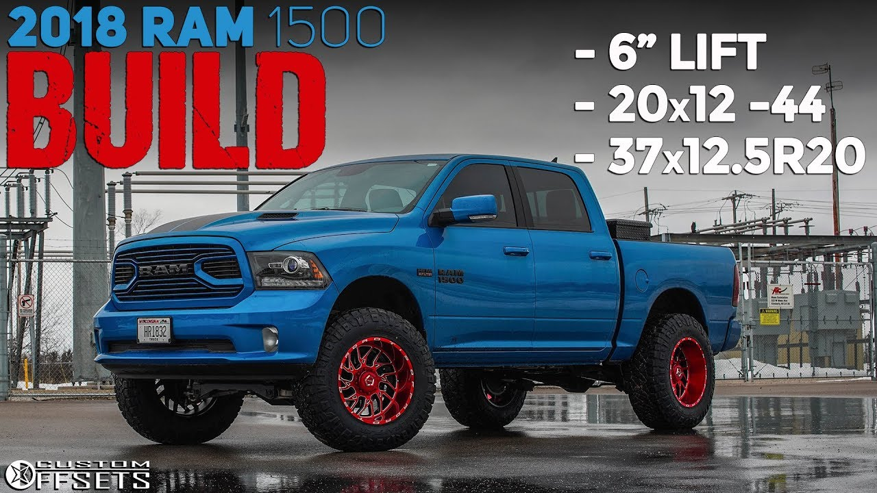 Electric Blue Ram 1500 On Red Tis 544 S 6 Lift 20x12 37