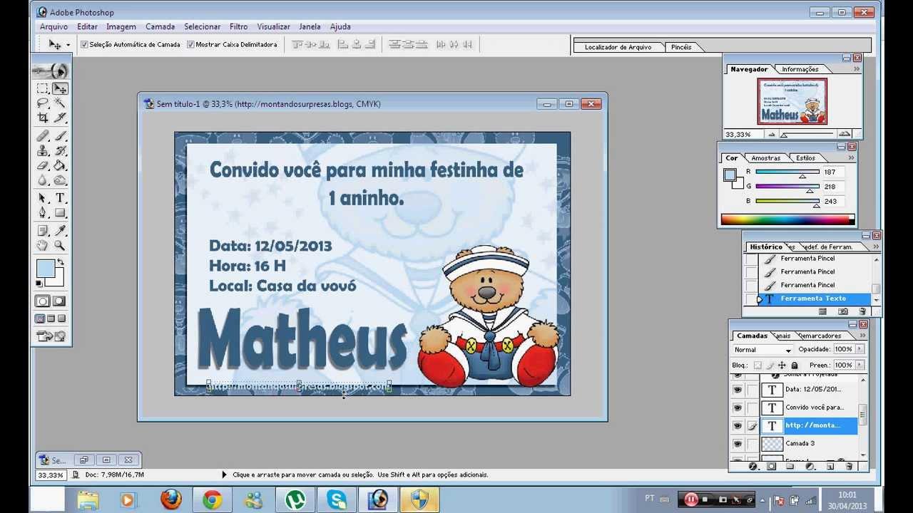 Amado Faça você mesmo um convite ursinho marinheiro - YouTube OI93