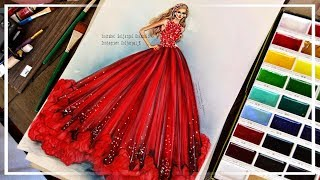 How to Paint Fashion Illustration Princess Red Chiffon Dress - For Beginners