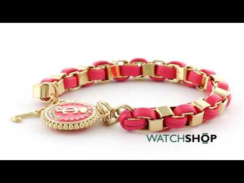 Juicy Couture Jewellery Ladies' PVD Gold plated Box Chain Leather Bracelet With Coin (WJW402-621)