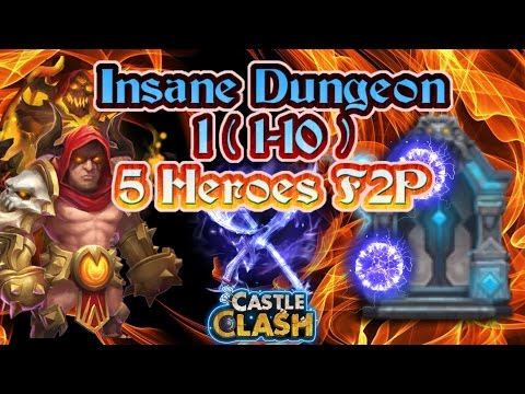 Castle Clash F2P 5 Heroes Beat Insane Dungeon 1 ( 1-10 )