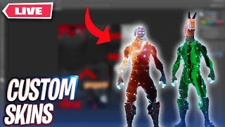 Making Custom Skins / Emotes on Fortnite LIVE | Downloads at the end!