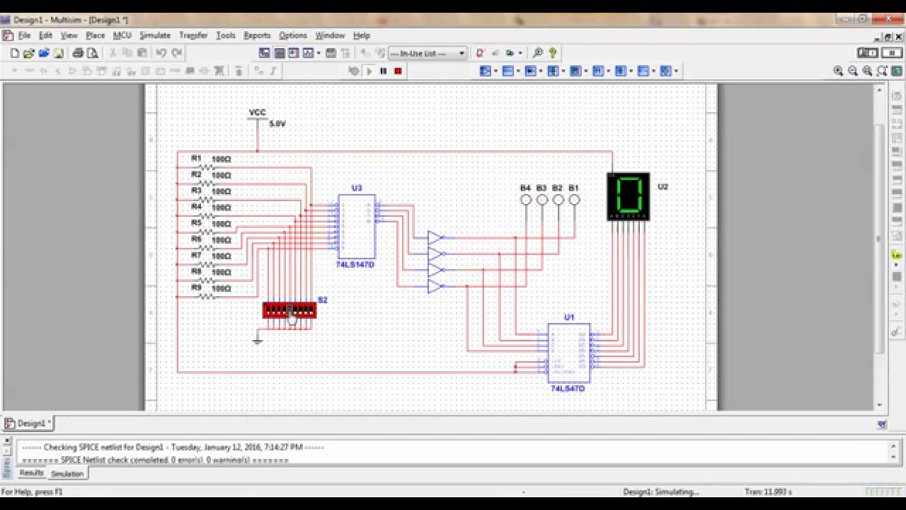 from decimal to bcd and 7 segment display using ni multisim [ 1280 x 720 Pixel ]