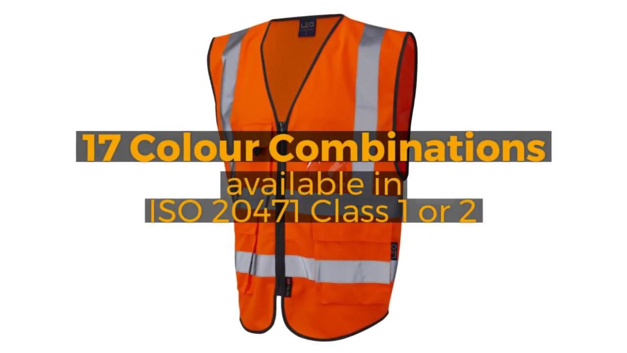 Leo Workwear Lynton Class 2 Hi Vis Orange Superior Waistcoat