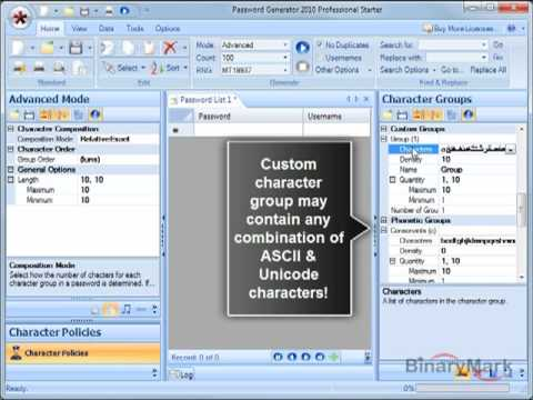 See how you can use character groups to control the appearance of various characters in passwords.