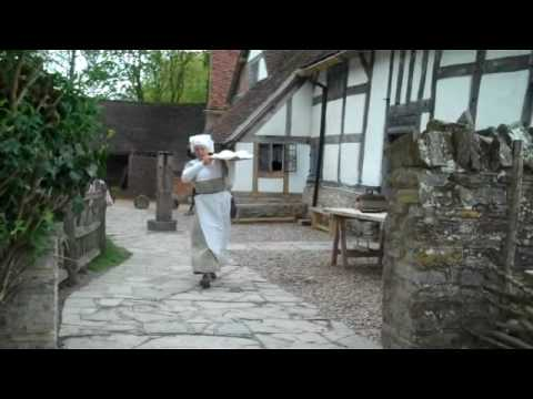 Tudor baking at Mary Arden's Farm, home of Shakespeare's mother