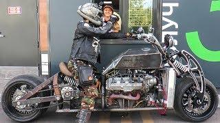 """Самодельный мотоцикл с v8 """"GangRena"""". Испытания в городе. Custom bike with v8"""