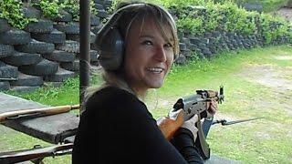 Czech girl shooting AK47 kalashnikov for the first time