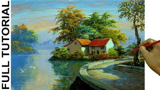HOW TO PAINT Village Houses with Concrete Road Beside the River in #Acrylics