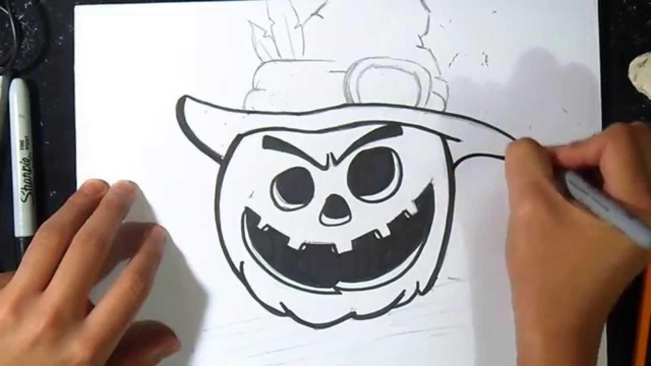 Come disegnare una zucca di halloween graffiti youtube - Citrouille a dessiner ...