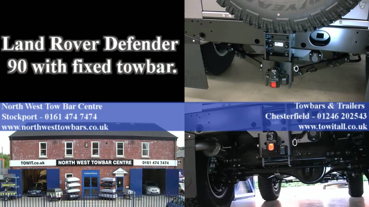 land rover defender 90 with a fixed towbar [ 1280 x 720 Pixel ]
