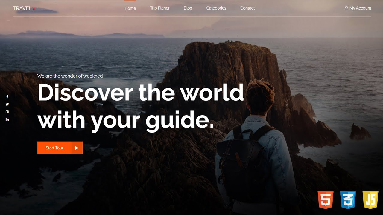 How to Make Tours & Travels Website with HTML, CSS & GSAP animation |Travel Website Design