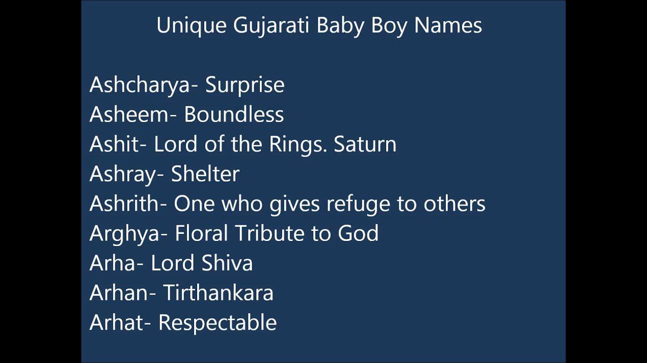 Unique Gujarati Baby Boy Names
