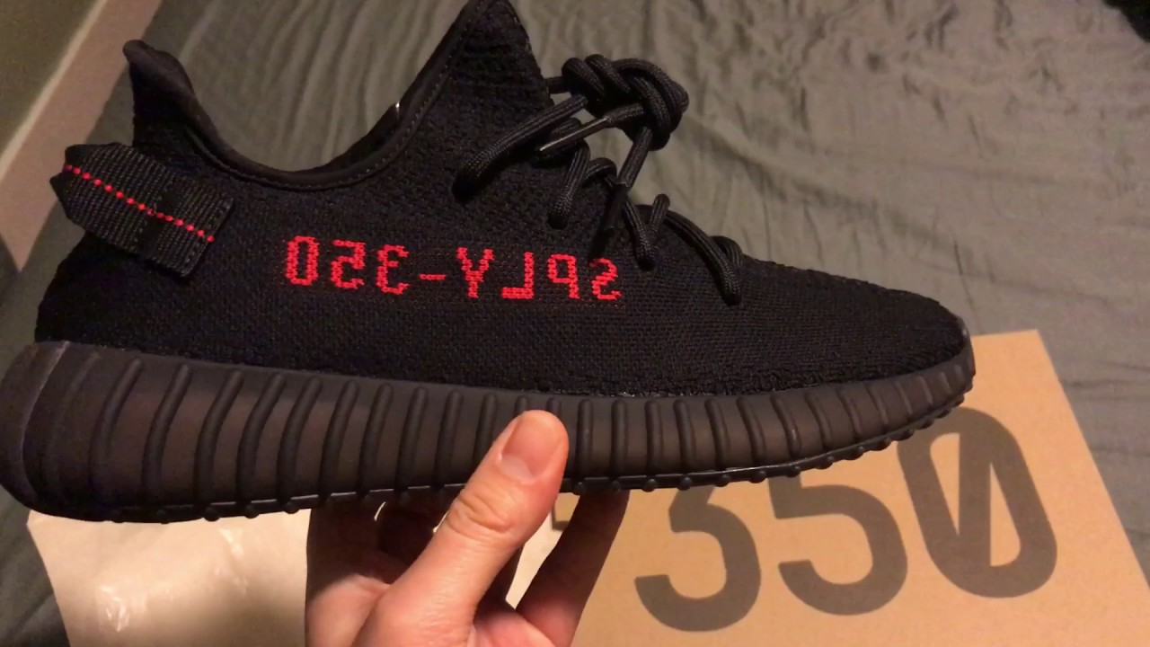14073f501ee Yeezy Boost 350 V2 Black Red  Bred  quick unboxing detailed look ...