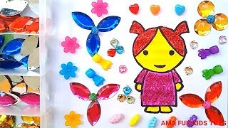 Drawing coloring glitter Girl and decorate with beads for Kids and Toddlers