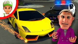 Cartoon about police bandit super car racing. compilation for kids. Handy Andy and friends