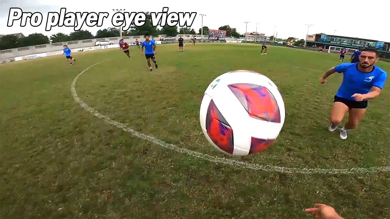 Professional football player team game, traning eye view