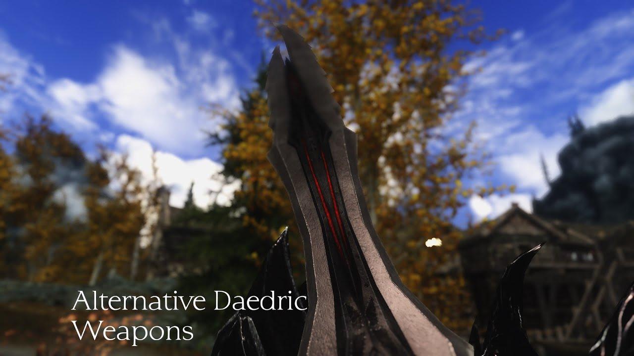 Skyrim Retexture Alternative Daedric Weapons Youtube