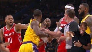 BEST ANGLE Chris Paul vs Rondo FIGHT Lakers vs Rockets Lebron Home Opener (Ap REACTS )