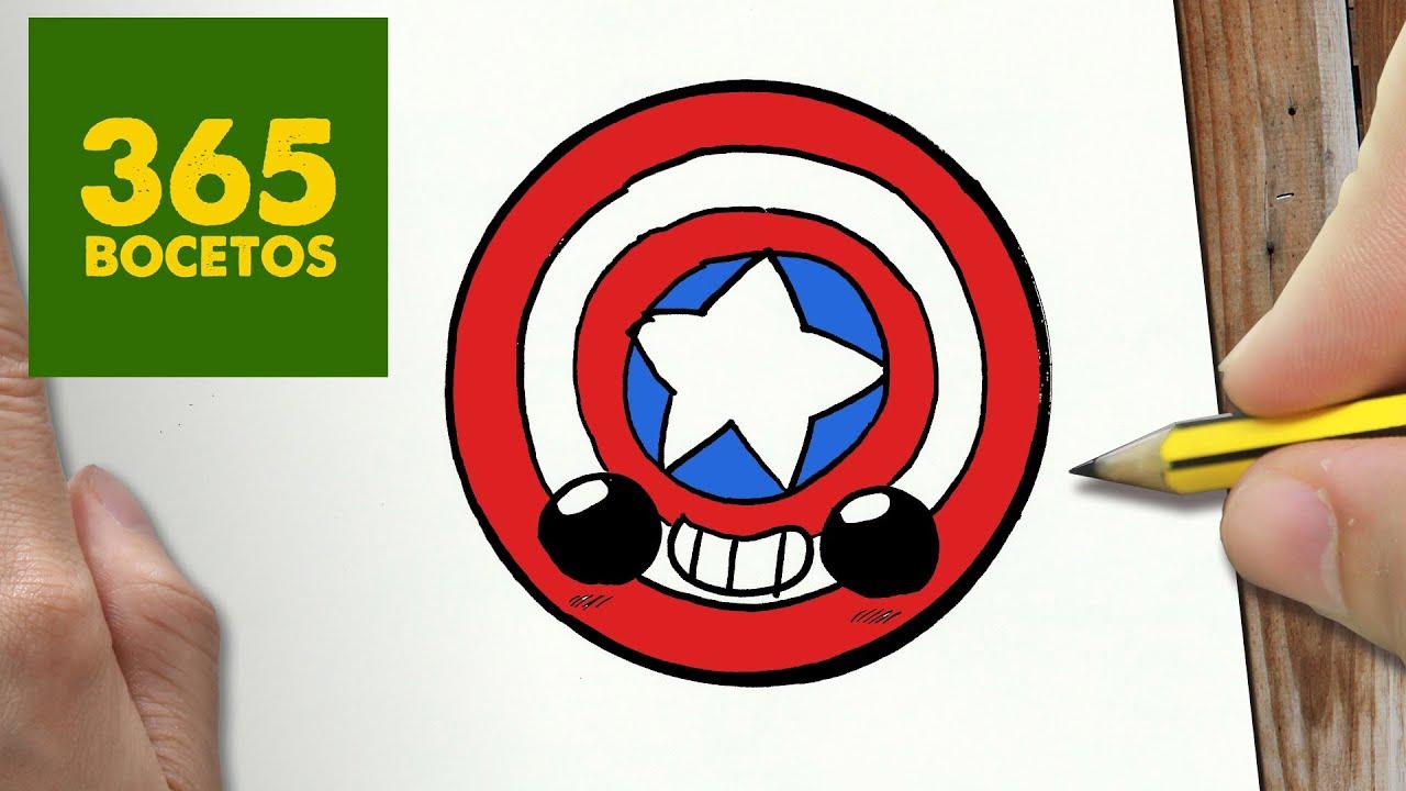 Como Dibujar Escudo Capitan America Kawaii Paso A Paso Dibujos