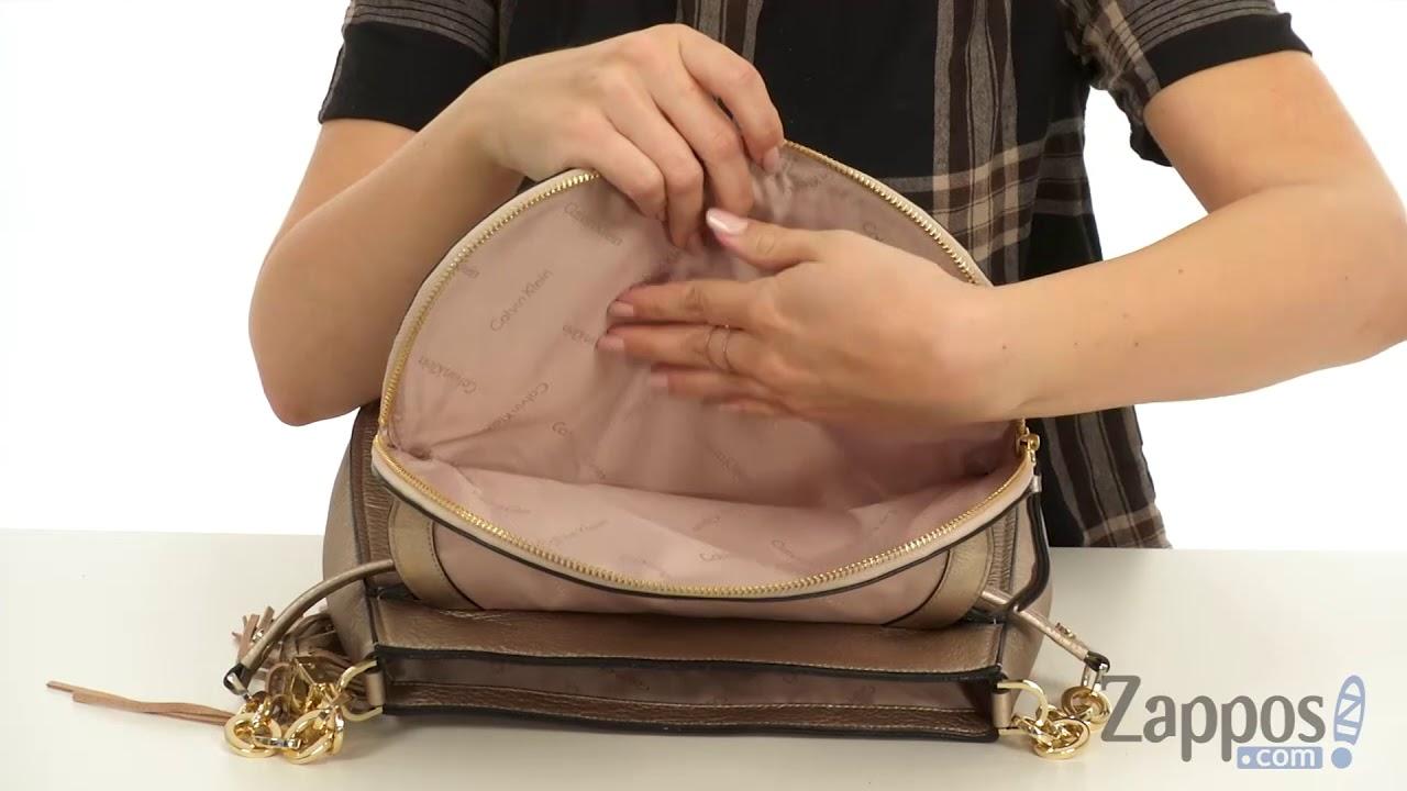 08ef2606cbb Calvin Klein Lynn Pebble Flap Hobo Shoulder Bag SKU: 9028812 - YouTube