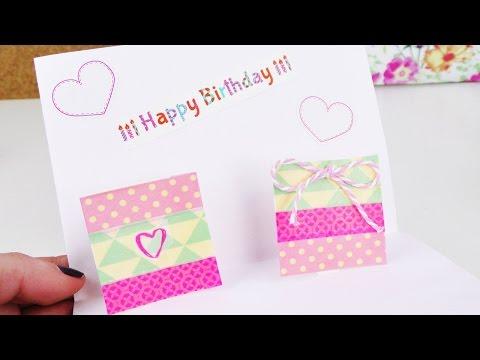 DIY Pop-Up Karte mit Geschenk | Geburtstags Karte schnell & einfach selber machen mit Washitape