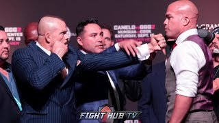 CHUCK LIDDELL SQUARES UP ON TITO ORTIZ! PUTS FIST IN HIS FACE DURING THE CANELO GGG 2 WEIGH INS!