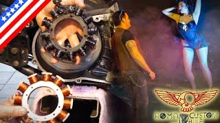 Harley Davidson rotor and stator repair replacement - ep21 eng - Roma Custom Bike