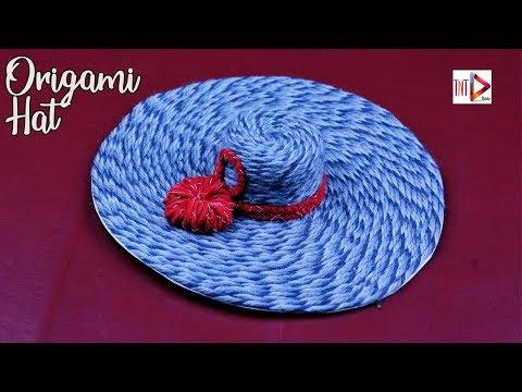 DIY Origami Hat With Wool Tutorial | Disposal Plastic Glass Craft Idea easy