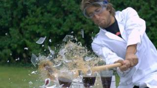 Smashing China plates, Baseball bat - The Slow Mo Guys.