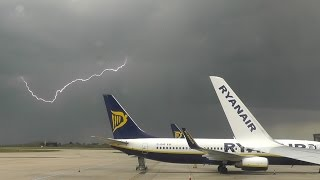 Thunderstorm at London Stansted during take-off to Madrid Barajas.