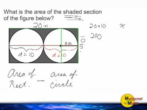 Find Area Of Shaded Part - 2 Circles Inside A Rectangle - YouTube