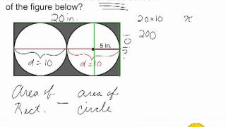 Find Area Of Shaded Part - 2 Circles Inside A Rectangle