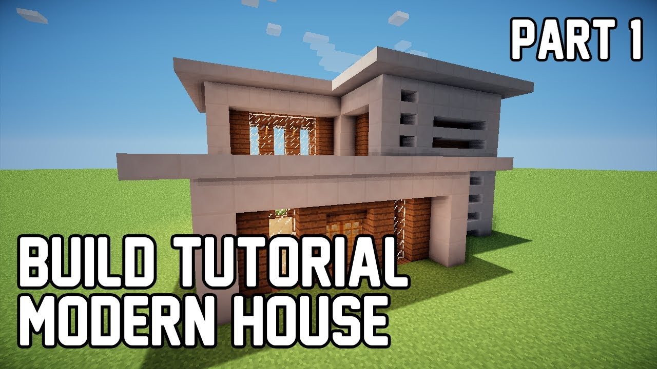 Minecraft how to make modern house 1 part 1 youtube for Classic house tutorial