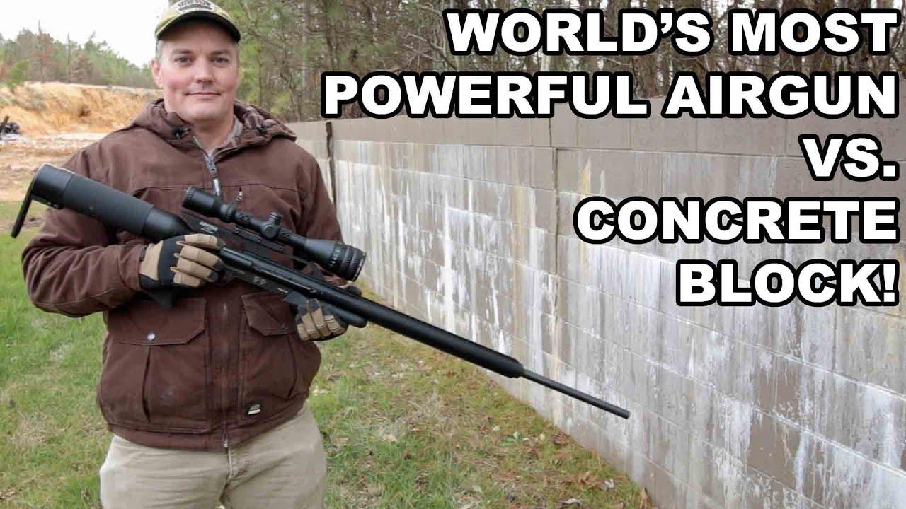 World's Most Powerful Airgun vs  Concrete Block!